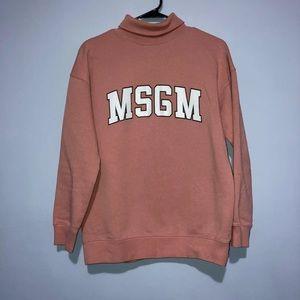 MSGM Milano logo blush turtleneck small sweatshirt